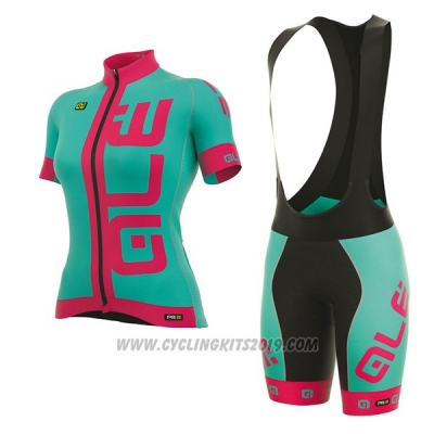 2017 Cycling Jersey Women ALE Prr Arcobaleno Light Blue and Pink Short Sleeve and Bib Short
