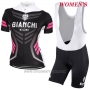 2017 Cycling Jersey Women Bianchi Black Short Sleeve and Bib Short