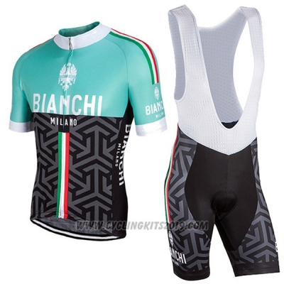 2017 Cycling Jersey Women Bianchi Black and Green Short Sleeve and Bib Short