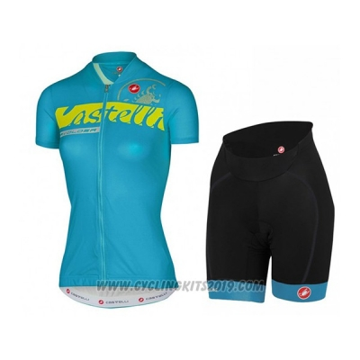 2017 Cycling Jersey Women Castelli Sky Blue Short Sleeve and Bib Short