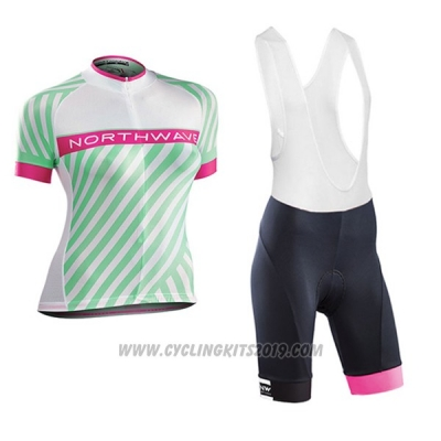 2017 Cycling Jersey Women Northwave Green and Pink Short Sleeve and Bib Short