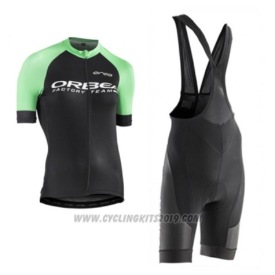 2017 Cycling Jersey Women Orbea Black and Green Short Sleeve and Bib Short