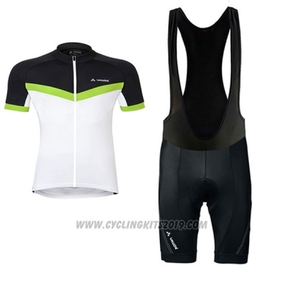 2017 Cycling Jersey Women Vaude White and Green Short Sleeve and Bib Short