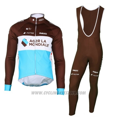 2018 Cycling Jersey Ag2r La Mondiale Marron Long Sleeve and Bib Tight