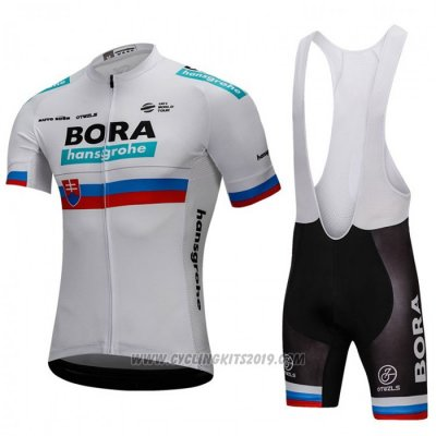 2018 Cycling Jersey Bora Campione Russia White Short Sleeve and Bib Short