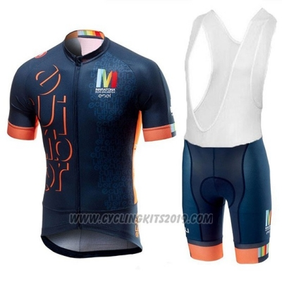 2018 Cycling Jersey Castelli Maratona Dles Dolomites-Enel Blue Orange Short Sleeve and Bib Short
