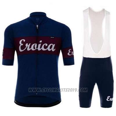 2018 Cycling Jersey Eroica Vino Dark Blue Short Sleeve and Bib Short