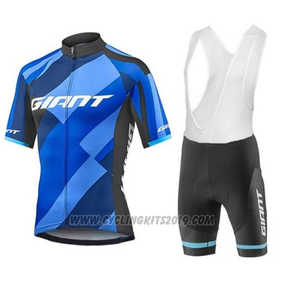 2018 Cycling Jersey Giant Elevate Blue and Black Short Sleeve and Bib Short