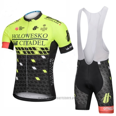 2018 Cycling Jersey Holowesko Citadel Green and Black Short Sleeve and Bib Short