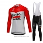 2018 Cycling Jersey Lotto Soudal White and Red Long Sleeve and Bib Tight