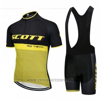2018 Cycling Jersey Scott Rc Black Yellow Short Sleeve and Bib Short