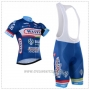 2018 Cycling Jersey Wanty Blue Short Sleeve and Bib Short