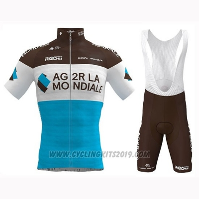 2019 Cycling Jersey Ag2r La Mondiale Marron White Blue Short Sleeve and Bib Short