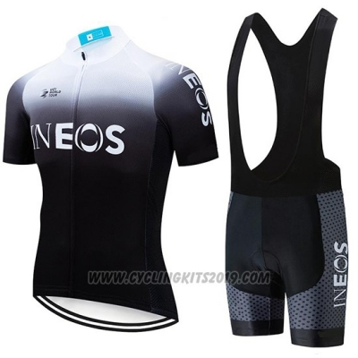 2019 Cycling Jersey Castelli Ineos White Black Short Sleeve and Bib Short