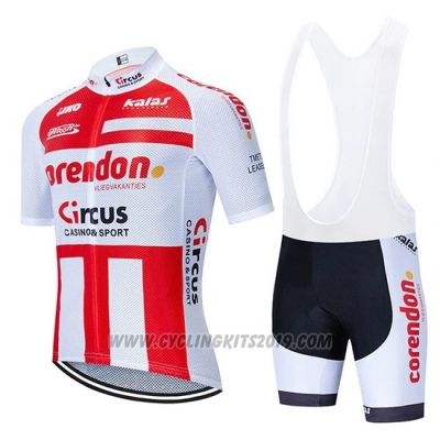 2019 Cycling Jersey Corendon Circo Red White Short Sleeve and Bib Short