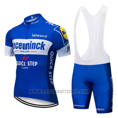 2019 Cycling Jersey Deceuninck Quick Step Blue White Short Sleeve and Bib Short