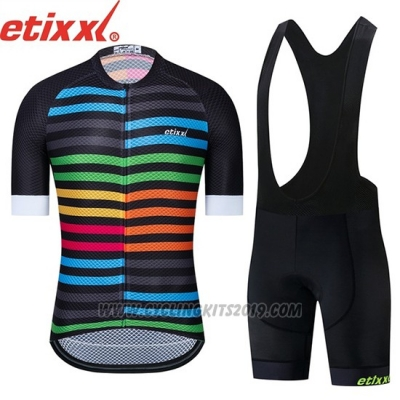 2019 Cycling Jersey Etixxl Black Blue Short Sleeve and Bib Short