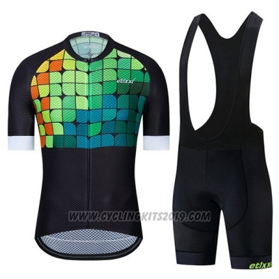 2019 Cycling Jersey Etixxl Black Green Blue Short Sleeve and Bib Short