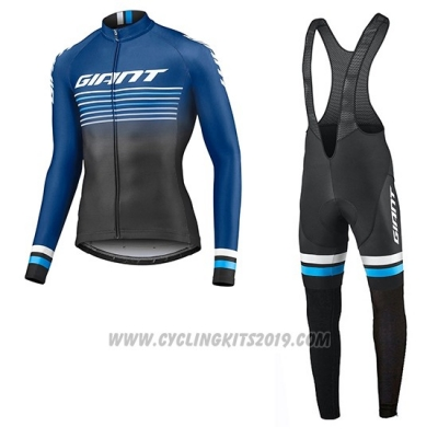 2019 Cycling Jersey Giant Race Day Blue Black Long Sleeve and Bib Tight