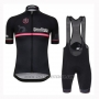 2019 Cycling Jersey Giro D'italy Black Short Sleeve and Bib Short