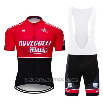 2019 Cycling Jersey Nove Colli Red Black Short Sleeve and Bib Short