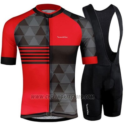 2019 Cycling Jersey Runchita Red Gray Short Sleeve and Bib Short