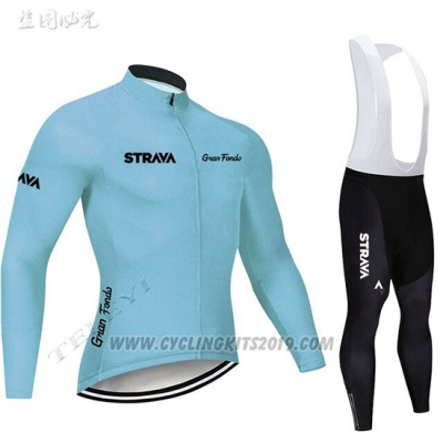 2019 Cycling Jersey STRAVA Sky Blue Long Sleeve and Bib Tight