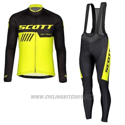 2019 Cycling Jersey Scott Black Yellow Long Sleeve and Bib Tight
