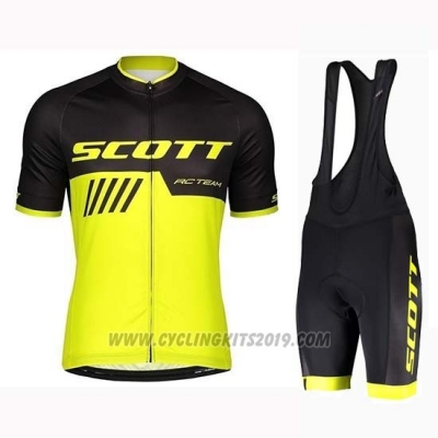2019 Cycling Jersey Scott Black Yellow Short Sleeve and Bib Short