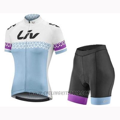 2019 Cycling Jersey Women Liv White Blue Short Sleeve and Bib Short