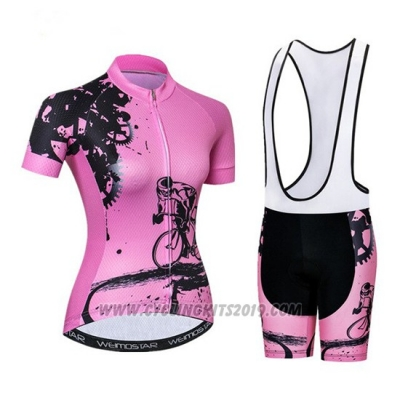 2019 Cycling Jersey Women Weimostar Pink Short Sleeve and Bib Short