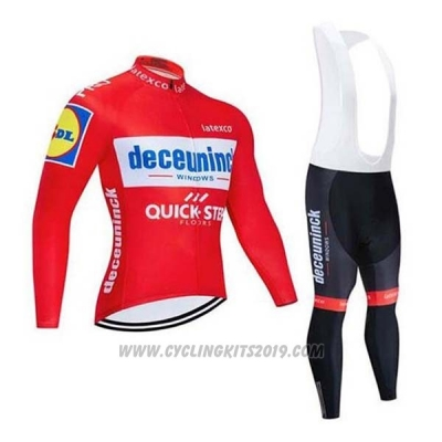 2020 Cycling Jersey Deceuninck Quick Step Red White Long Sleeve and Bib Tight