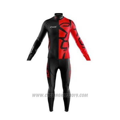 2020 Cycling Jersey EKOI Black Red Long Sleeve and Bib Tight