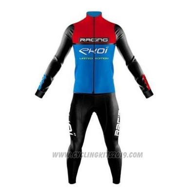 2020 Cycling Jersey EKOI Red Blue Black Long Sleeve and Bib Tight