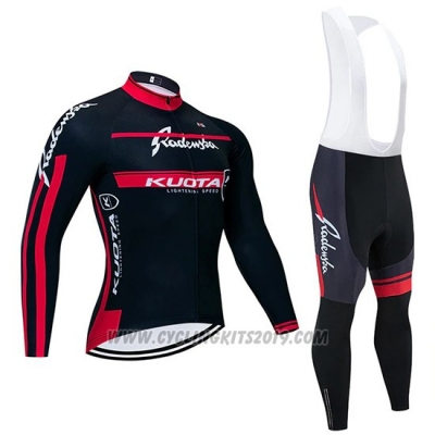 2020 Cycling Jersey Kuota Black Red Long Sleeve and Bib Tight