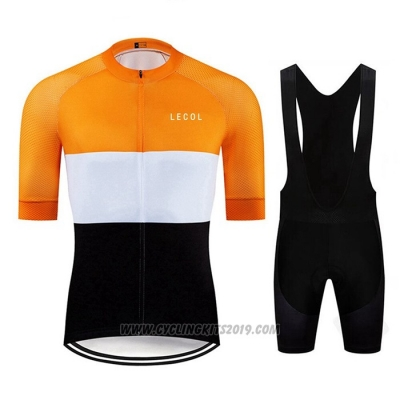 2020 Cycling Jersey Le Col Black White Yellow Short Sleeve and Bib Short