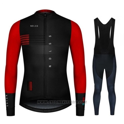 2020 Cycling Jersey NDLSS Black Red Long Sleeve and Bib Tight