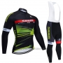 2020 Cycling Jersey Sram Black Green Long Sleeve and Bib Tight