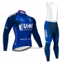 2020 Cycling Jersey UHC Dark Blue Long Sleeve and Bib Tight