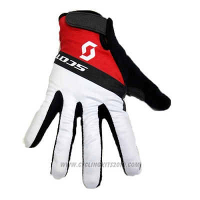 2020 Scott Full Finger Gloves White Red