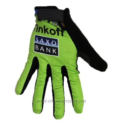 2020 Tinkoff Saxo Bank Full Finger Gloves Green Black