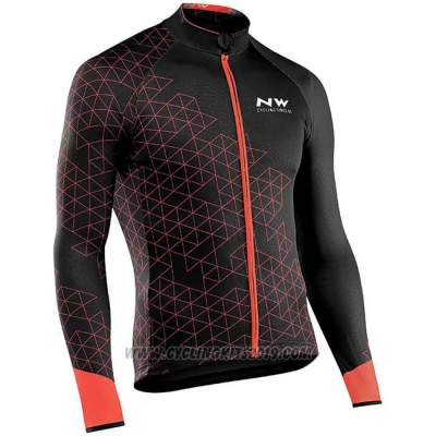 Cycling Jersey Northwave Red Black Long Sleeve and Bib Tight