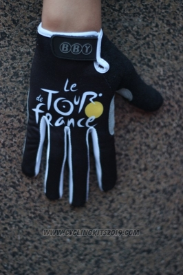 Tour De France Full Finger Gloves Cycling Black
