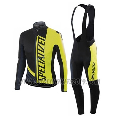 2016 Cycling Jersey Specialized Ml Black and Yellow Long Sleeve and Bib Tight