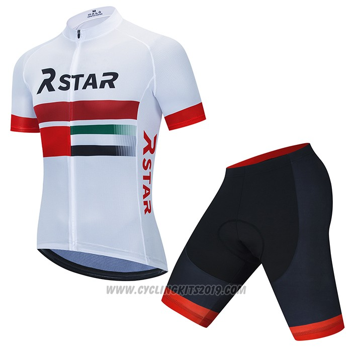 2021 Cycling Jersey R Star White Red Short Sleeve and Bib Short