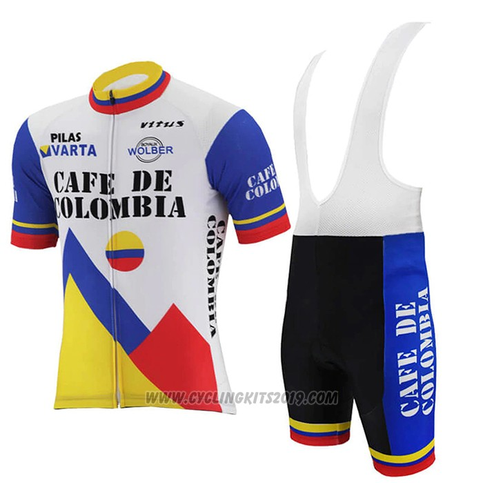 2021 Cycling Jersey Colombia White Blue Short Sleeve and Bib Short