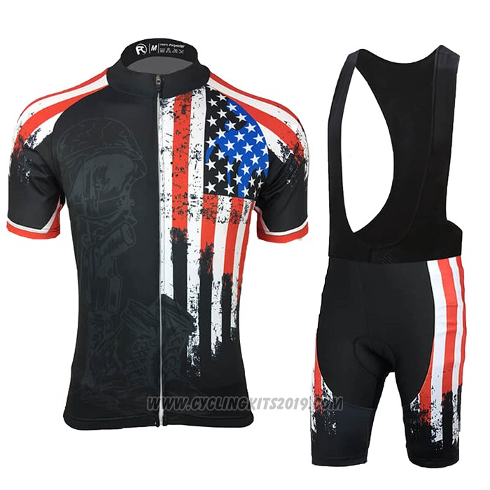 2021 Cycling Jersey USA Black Short Sleeve and Bib Short