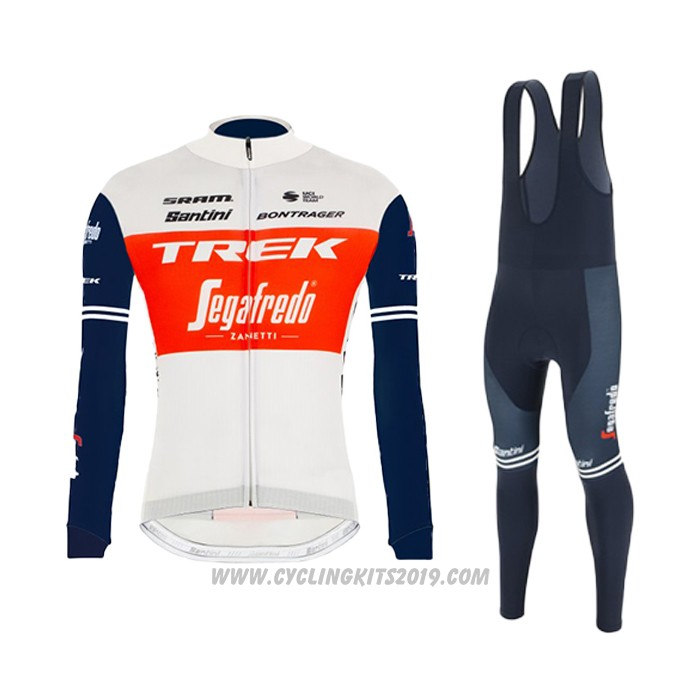 2021 Cycling Jersey Trek Segafredo White Deep Blue Long Sleeve and Bib Tight